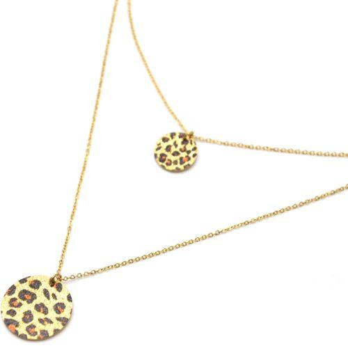 Collier-Double-Chaines-Acier-Dore-avec-Medailles-Motif-Leopard-Paillettes