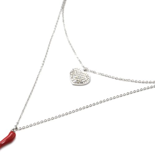 Collier-Double-Chaine-Acier-Argente-avec-Coeur-Strass-et-Piment-Rouge