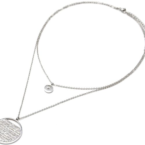 Collier-Double-Chaine-avec-Medailles-Acier-Argente-Multi-Rangs-Strass