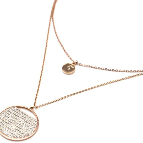 Collier-Double-Chaine-avec-Medailles-Acier-Or-Rose-Multi-Rangs-Strass