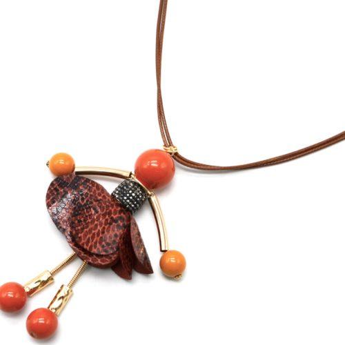 Sautoir-Collier-Cordons-Pendentif-Poupee-Robe-Strass-et-Tissu-Python-Orange