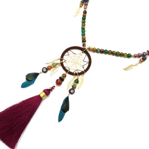 Sautoir-Collier-Perles-Bois-Verre-Multicolore-avec-Attrape-Reves-Plumes-et-Pompon