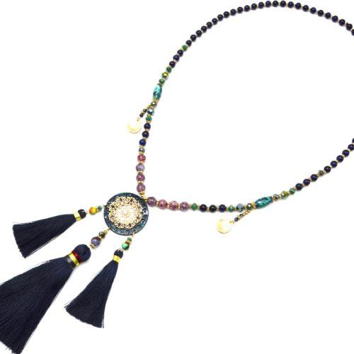 Sautoir-Collier-Perles-Verre-avec-Fleur-Ajouree-Resine-et-Pompons-Bleu-Nuit