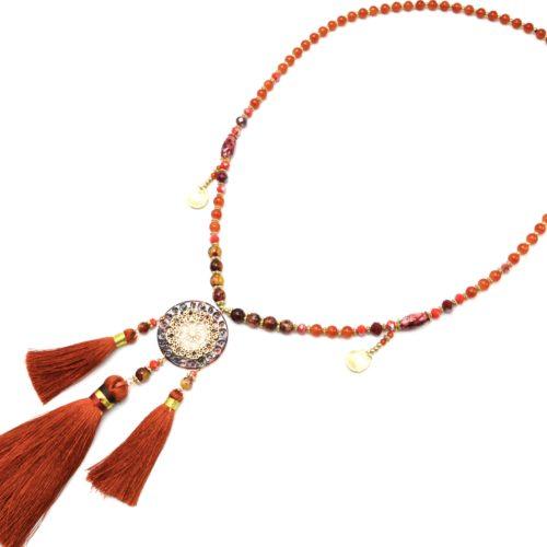 Sautoir-Collier-Perles-Verre-avec-Fleur-Ajouree-Resine-et-Pompons-Terracotta