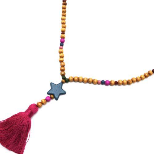 Sautoir-Collier-Perles-Bois-et-Effet-Marbre-avec-Pierre-Etoile-et-Pompon-Multicolore