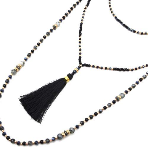Sautoir-Collier-Multi-Rangs-Perles-Verre-et-Brillantes-avec-Pompon-Noir