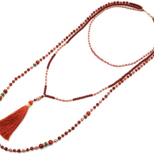 Sautoir-Collier-Multi-Rangs-Perles-Verre-et-Brillantes-avec-Pompon-Rouge-Orange