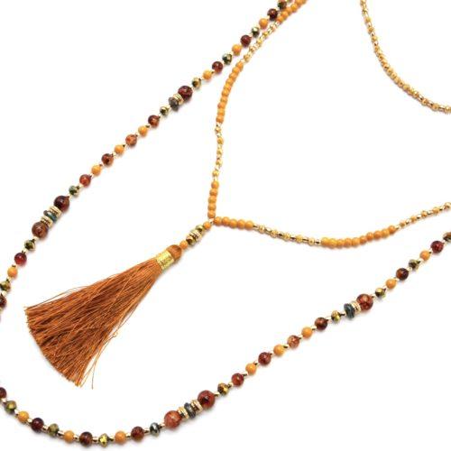 Sautoir-Collier-Multi-Rangs-Perles-Verre-et-Brillantes-avec-Pompon-Moutarde