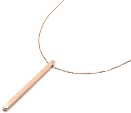 Sautoir-Collier-Chaine-Ajustable-avec-Barre-Rectangle-Acier-Or-Rose-Fini-Mat