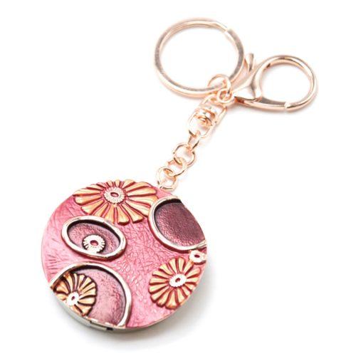 Porte-Cles-Bijou-de-Sac-Accroche-Sac-Metal-Rouge-Bordeaux-Motif-Fleurs-Or-Rose