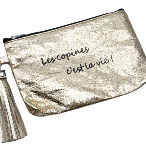 Trousse-Pochette-Metallisee-Message-Les-copines-c-est-la-vie-Pompon-Dore