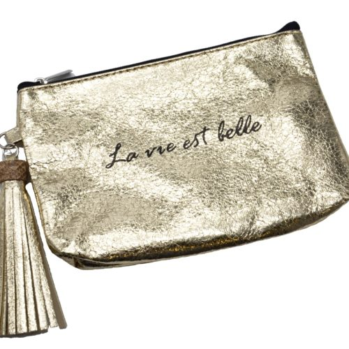 Trousse-Pochette-Metallisee-Message-La-vie-est-belle-Pompon-Dore
