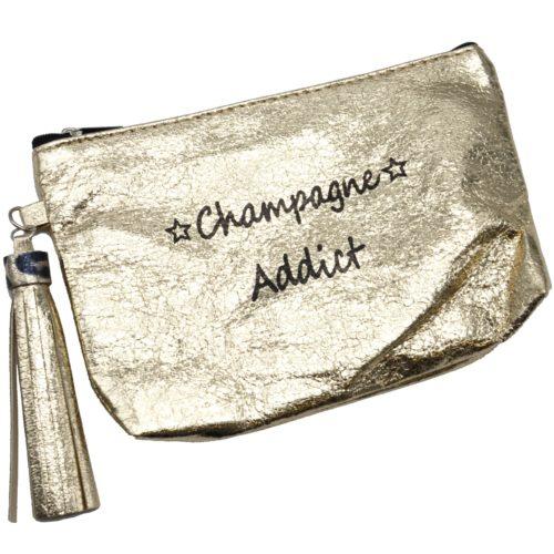 Trousse-Pochette-Metallisee-Message-Champagne-Addict-Pompon-Dore