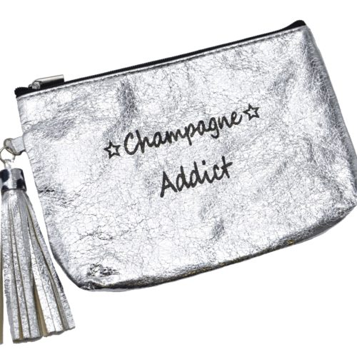 Trousse-Pochette-Metallisee-Message-Champagne-Addict-Pompon-Argente