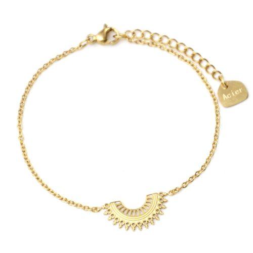 Bracelet-Fine-Chaine-avec-Demi-Cercle-Motif-Ajoure-Acier-Dore