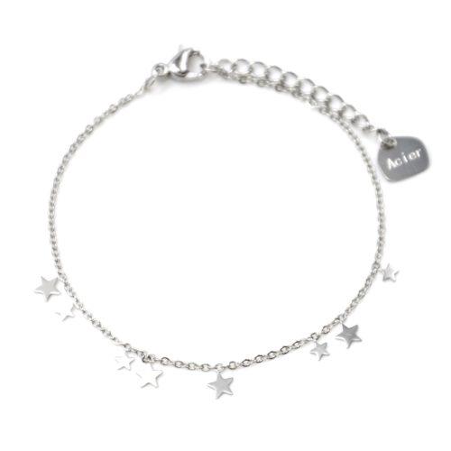 Bracelet-Fine-Chaine-avec-Mini-Pampilles-Etoiles-Acier-Argente