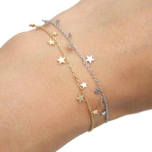 Bracelet-Fine-Chaine-avec-Mini-Pampilles-Etoiles-Acier