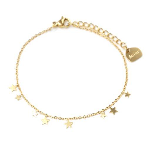 Bracelet-Fine-Chaine-avec-Mini-Pampilles-Etoiles-Acier-Dore