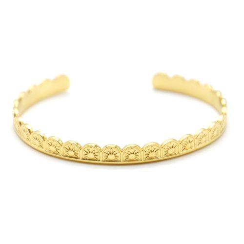 Bracelet-Jonc-Ondule-Ouvert-avec-Motif-Soleil-Acier-Dore