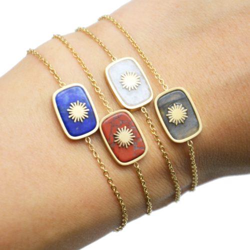 Bracelet-avec-Pierre-Rectangle-Couleur-Effet-Naturel-et-Soleil-Acier-Dore