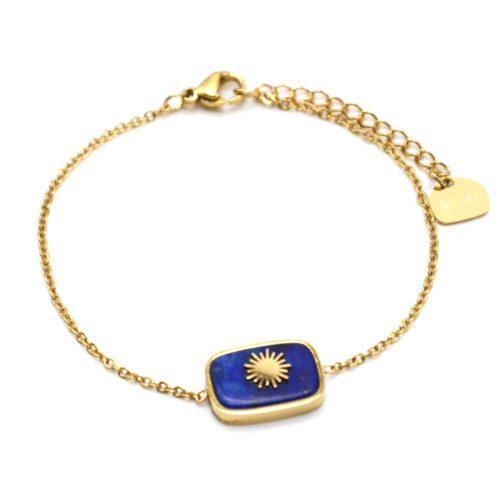 Bracelet-avec-Pierre-Rectangle-Bleue-Effet-Naturel-et-Soleil-Acier-Dore