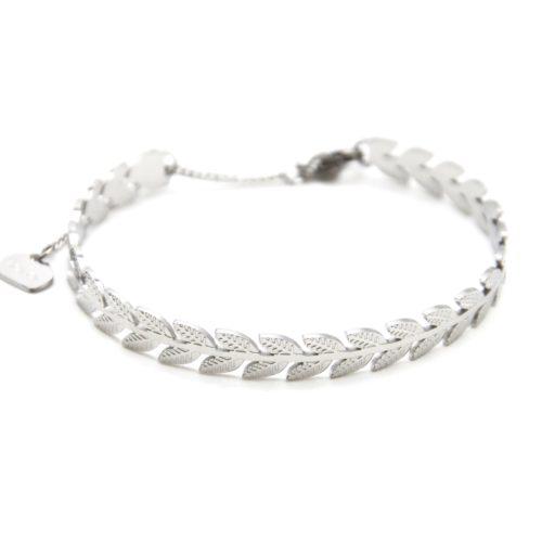 Bracelet-Jonc-Feuilles-Laurier-Acier-Argente-avec-Chainette-Fermoir