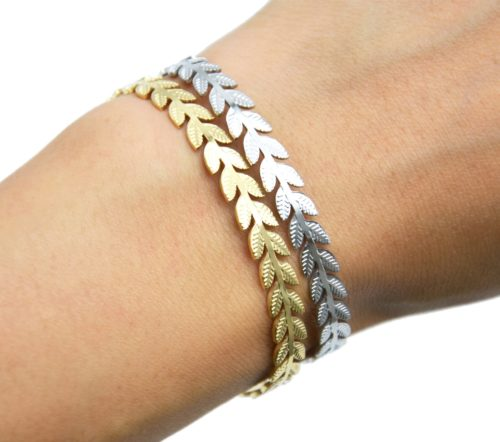 Bracelet-Jonc-Feuilles-Laurier-Acier-avec-Chainette-Fermoir