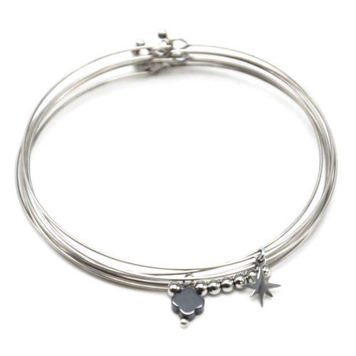 Bracelet-Semainier-Multi-Joncs-Acier-Argente-avec-Billes-Etoile-et-Trefle-Noir