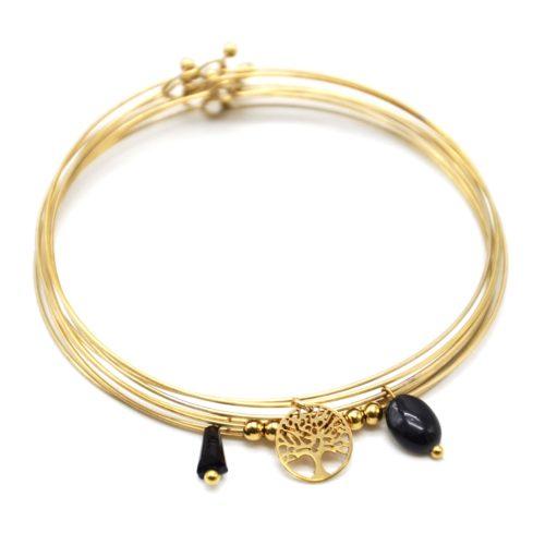 Bracelet-Semainier-Multi-Joncs-Acier-Dore-avec-Billes-Arbre-de-Vie-et-Perles-Noires