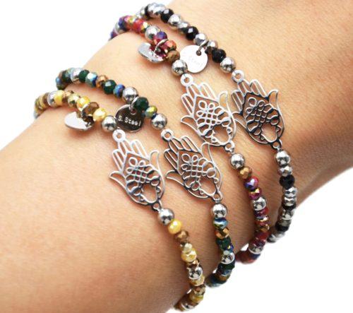 Bracelet-Elastique-Perles-Brillantes-et-Main-de-Fatma-Acier-Argente