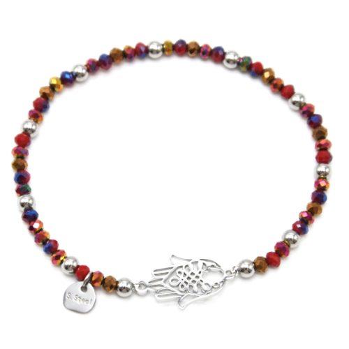 Bracelet-Elastique-Perles-Brillantes-Rouges-et-Main-de-Fatma-Acier-Argente