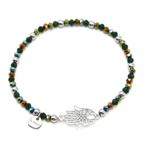 Bracelet-Elastique-Perles-Brillantes-Vertes-et-Main-de-Fatma-Acier-Argente