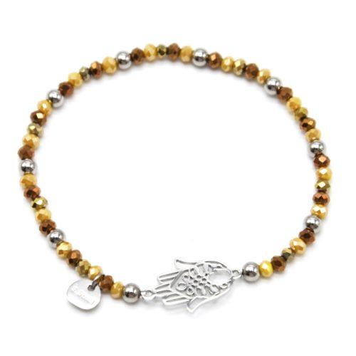 Bracelet-Elastique-Perles-Brillantes-Moutarde-et-Main-de-Fatma-Acier-Argente