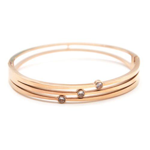 Bracelet-Jonc-Triple-Ajoure-Acier-Or-Rose-avec-Pierres-Zirconium