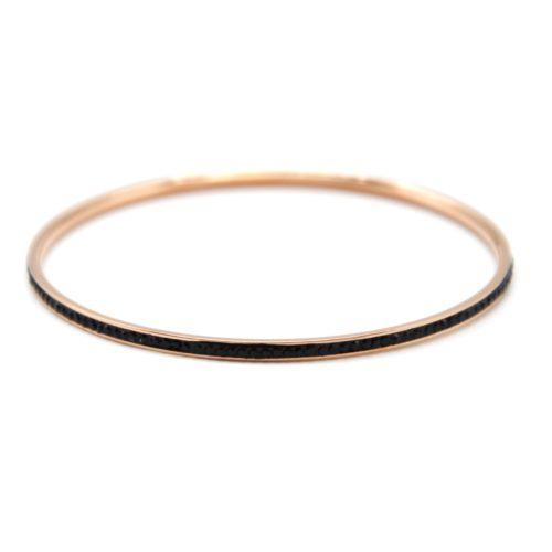 Bracelet-Jonc-Fin-Acier-Or-Rose-Orne-de-Strass-Noir