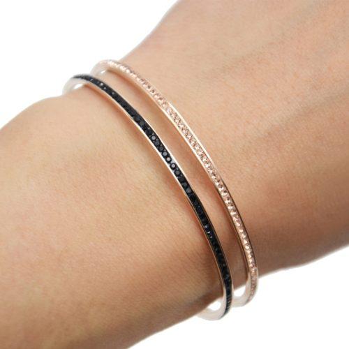 Bracelet-Jonc-Fin-Acier-Or-Rose-Orne-de-Strass-Couleur
