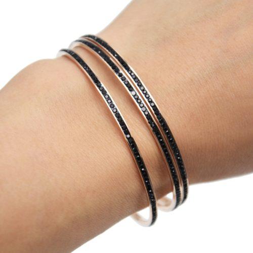 Lot-de-3-Bracelets-Jonc-Fin-Acier-Or-Rose-Orne-de-Strass-Noir