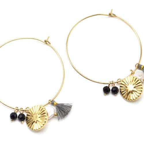 Boucles-dOreilles-Creoles-Acier-Dore-avec-Medaille-Etoile-Polaire-Perles-et-Pompon