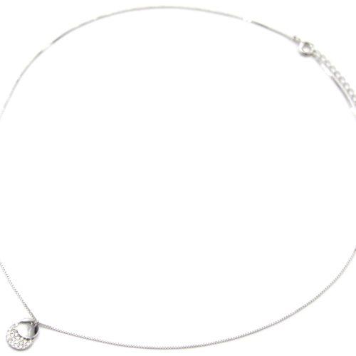 Collier-Fine-Chaine-Argent-925-Pendentif-Double-Medailles-Love-et-Strass-Zirconium