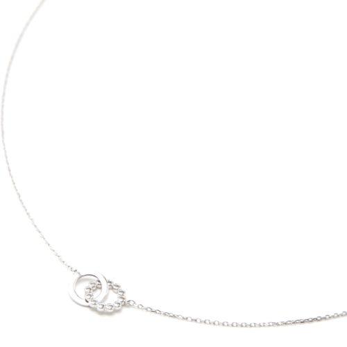 Collier-Fine-Chaine-Argent-925-Pendentif-Anneau-et-Cercle-Strass-Zirconium
