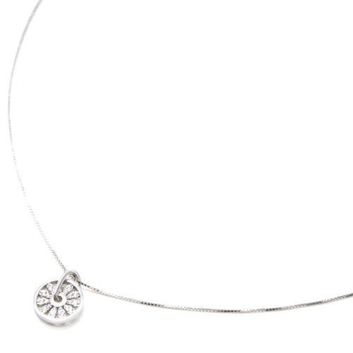 Collier-Fine-Chaine-Argent-925-Pendentif-Cercle-Fleur-Petales-Strass-Zirconium