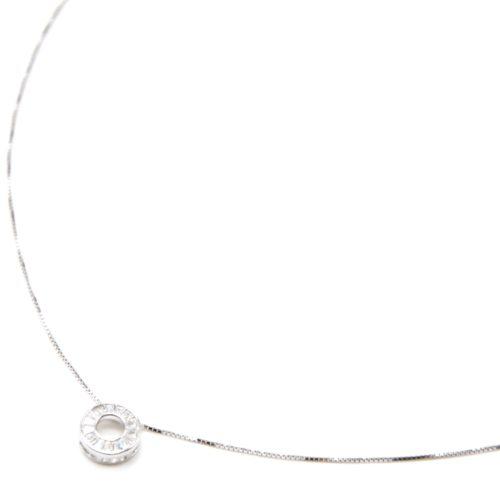 Collier-Fine-Chaine-Argent-925-Pendentif-Cercle-Ajoure-Contour-Pierres-Transparentes