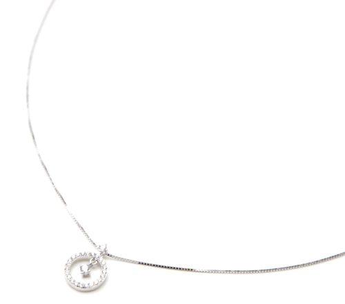 Collier-Fine-Chaine-Argent-925-Pendentif-Cercle-Contour-et-Milieu-Strass-Zirconium