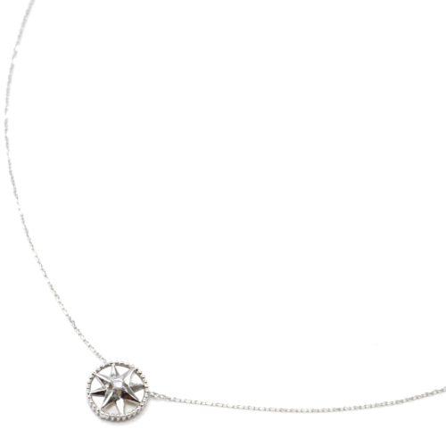 Collier-Fine-Chaine-Argent-925-Pendentif-Medaille-Nacre-Motif-Etoile-Polaire