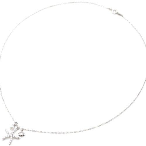 Collier-Fine-Chaine-Argent-925-Pendentif-Etoile-de-Mer-Strass-Zirconium-et-Charms