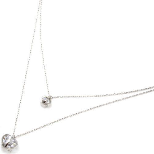 Collier-Double-Chaine-Argent-925-Pendentif-Boules-Cages-avec-Pierre-a-Facettes