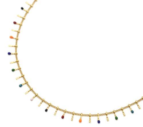 Collier-Ras-du-Cou-avec-Pampilles-Relief-Carreaux-Acier-Dore-et-Perles-Email-Multicolore