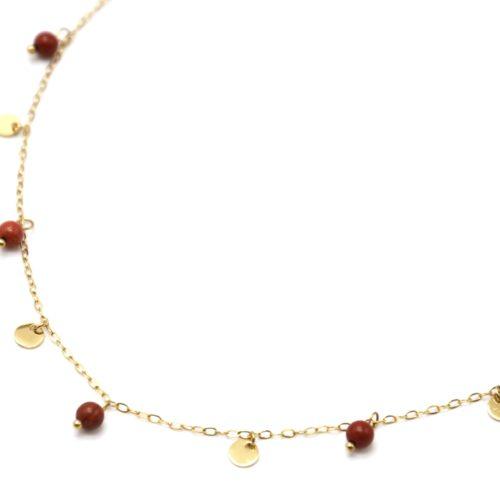 Collier-Ras-du-Cou-avec-Mini-Pampilles-Acier-Dore-et-Perles-Terracotta