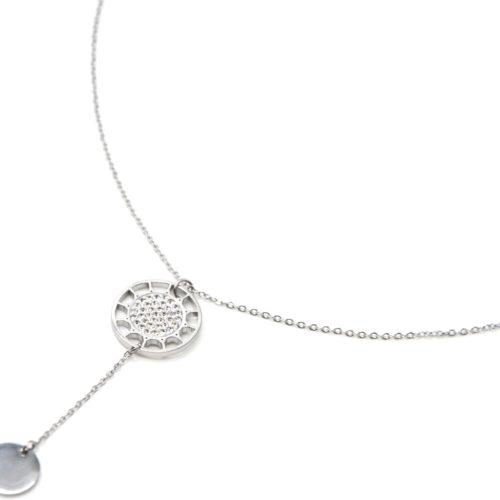 Collier-Fine-Chaine-Pendentif-Y-Soleil-Strass-et-Medaille-Acier-Argente