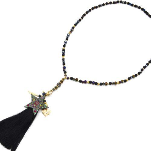 Sautoir-Collier-Perles-Resine-et-Brillantes-avec-Etoile-Motifs-et-Pompon-Noir
